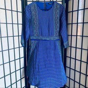 Madewell silk blue dress ascot grid pockets sz XS